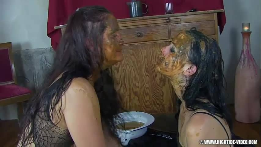 Fully covered faces in shit scat lesbians spitting on each other xxx porn video