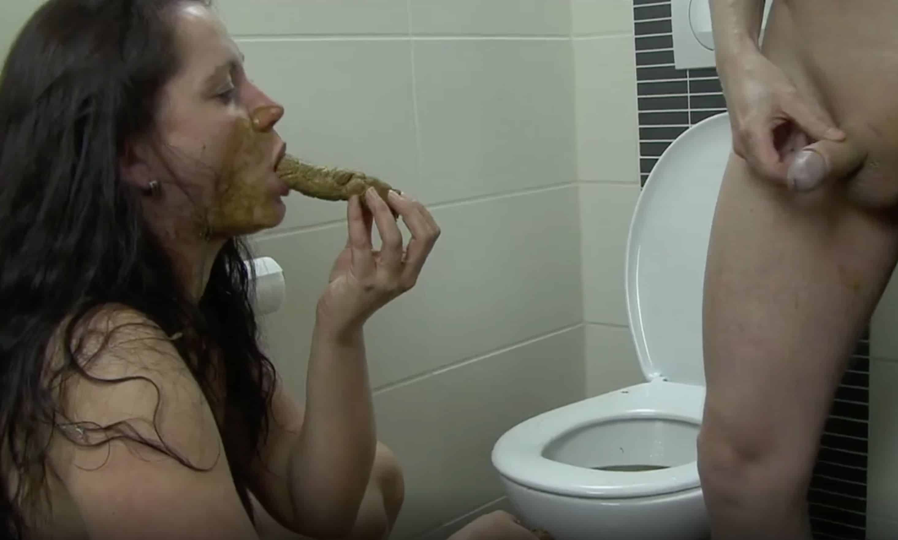 Human toilet hired to serve filthy scat people xxx porn movie ...