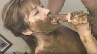 Beautiful Jav scat girl sucking dick and gets fucking fully covered in shit xxx porn video