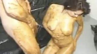 Horny retro scat couple fucking after they covered bodies in shit xxx porn video