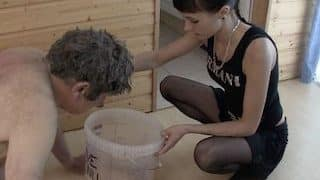 Young German scat femdom feeding her slave with the shit from the bucket xxx porn video